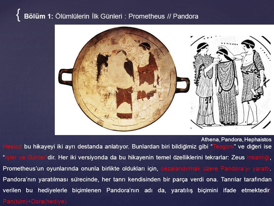 Athena, Pandora, Hephaistos { Bölüm 1: Ölümlülerin İlk Günleri : Prometheus // Pandora Hesiod bu hikayeyi iki ayrı destanda anlatıyor. Bunlardan biri