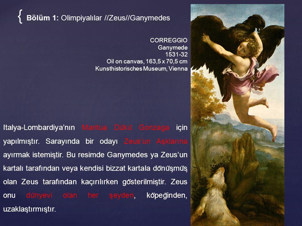 CORREGGIO Ganymede 1531-32 Oil on canvas, 163,5 x 70,5 cm Kunsthistorisches Museum, Vienna I ̇ talya-Lombardiya'nın Mantua Du ̈ ku ̈ Gonzaga ic ̧ in yapılmıs ̧ tır.