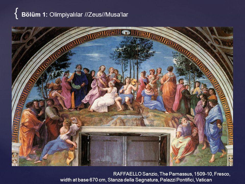 { Bölüm 1: Olimpiyalılar //Zeus//Musa'lar RAFFAELLO Sanzio, The Parnassus, 1509-10, Fresco, width at base 670 cm, Stanza della Segnatura, Palazzi Pont