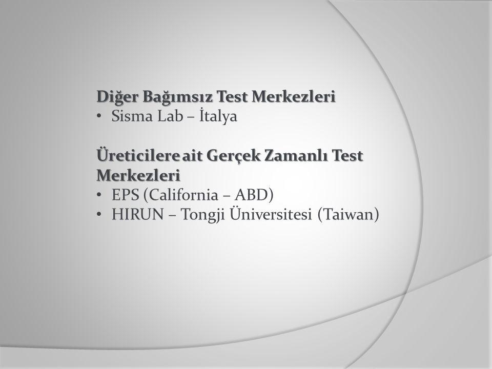 Diğer Bağımsız Test Merkezleri Sisma Lab – İtalya Üreticilere ait Gerçek Zamanlı Test Merkezleri EPS (California – ABD) HIRUN – Tongji Üniversitesi (T