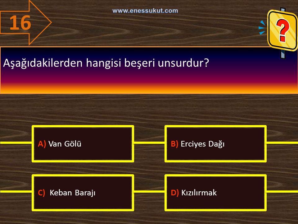 16 Aşağıdakilerden hangisi beşeri unsurdur? A) Van GölüB) Erciyes Dağı C) Keban BarajıD) Kızılırmak