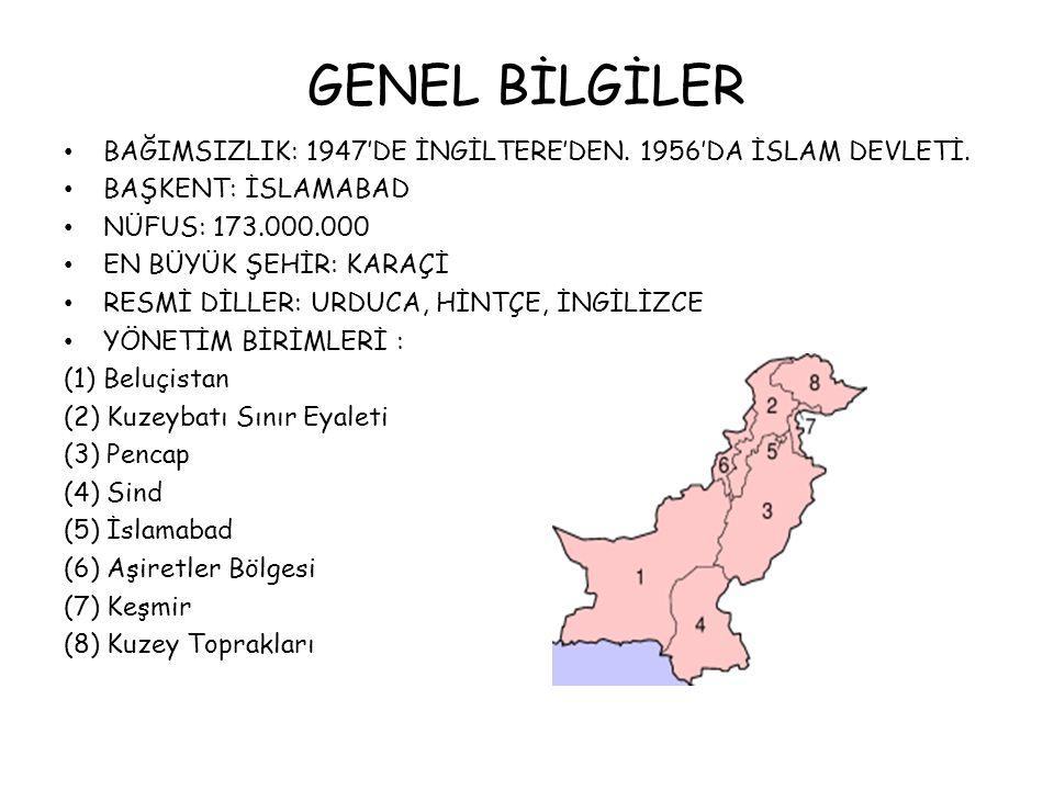 GENEL BİLGİLER BAĞIMSIZLIK: 1947'DE İNGİLTERE'DEN.