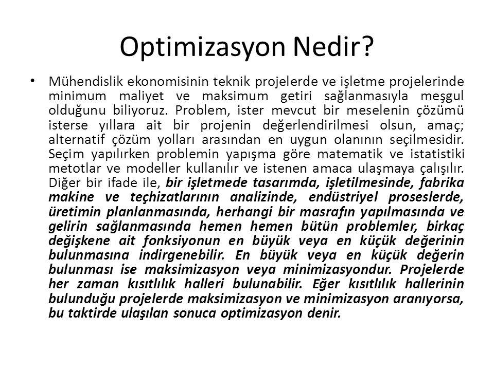 Optimizasyon Nedir? Mühendislik ekonomisinin teknik projelerde ve işletme projelerinde minimum maliyet ve maksimum getiri sağlanmasıyla meşgul olduğun