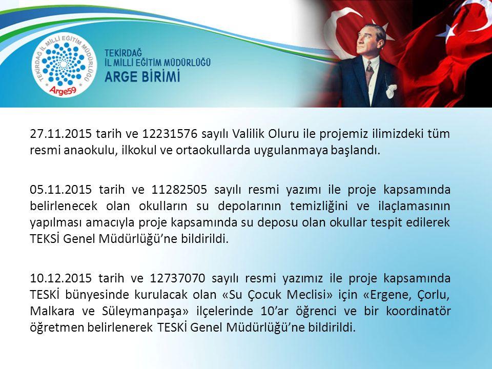 27.11.2015 tarih ve 12231576 sayılı Valilik Oluru ile projemiz ilimizdeki tüm resmi anaokulu, ilkokul ve ortaokullarda uygulanmaya başlandı.
