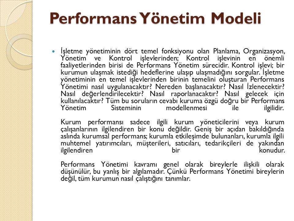 Performans Yönetim Modeli İ şletme yönetiminin dört temel fonksiyonu olan Planlama, Organizasyon, Yönetim ve Kontrol işlevlerinden; Kontrol işlevinin