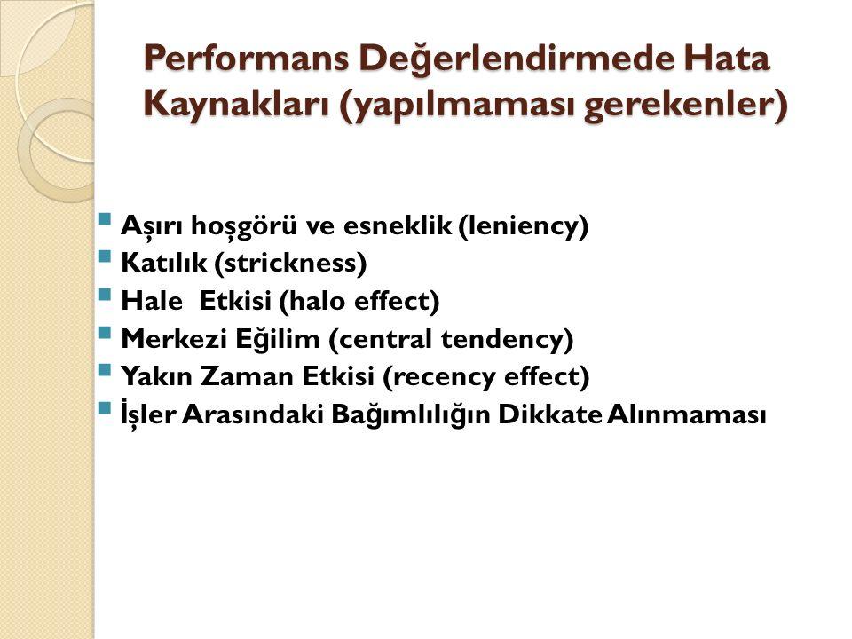 Performans De ğ erlendirmede Hata Kaynakları (yapılmaması gerekenler)  Aşırı hoşgörü ve esneklik (leniency)  Katılık (strickness)  Hale Etkisi (hal