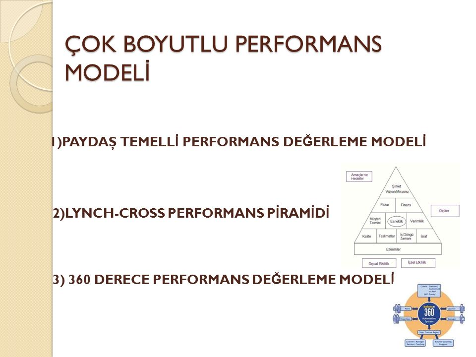 ÇOK BOYUTLU PERFORMANS MODEL İ 1)PAYDAŞ TEMELL İ PERFORMANS DE Ğ ERLEME MODEL İ 2)LYNCH-CROSS PERFORMANS P İ RAM İ D İ 3) 360 DERECE PERFORMANS DE Ğ E