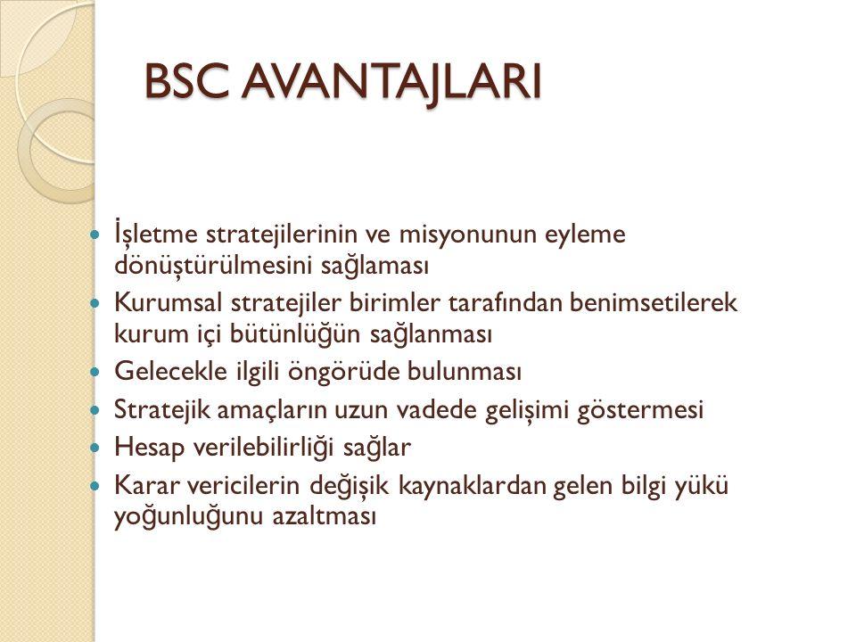 BSC AVANTAJLARI İ şletme stratejilerinin ve misyonunun eyleme dönüştürülmesini sa ğ laması Kurumsal stratejiler birimler tarafından benimsetilerek kur