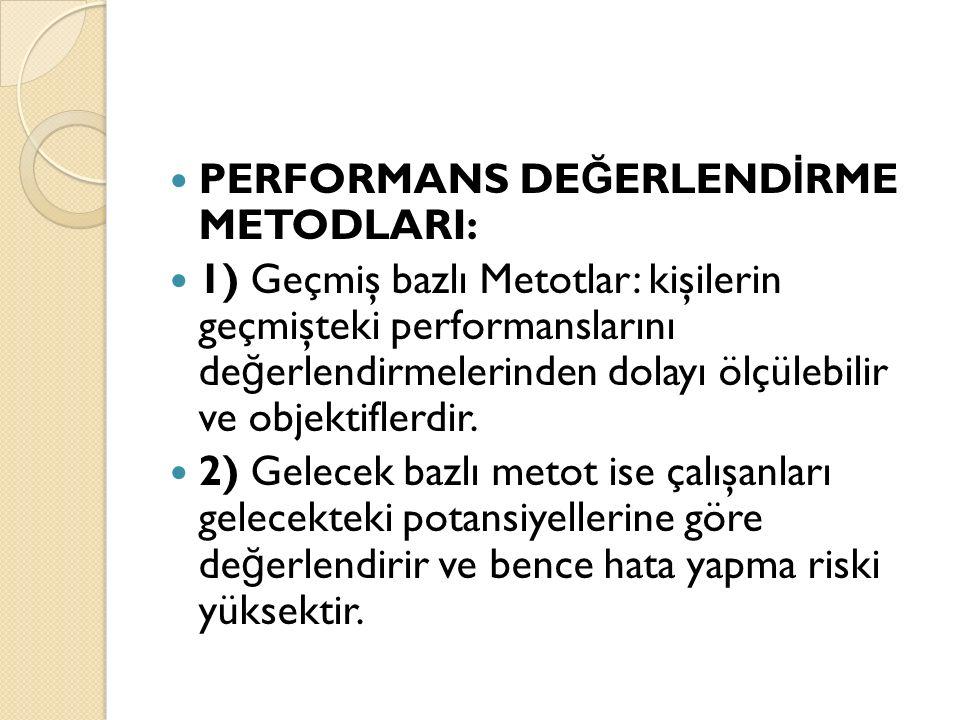 PERFORMANS DE Ğ ERLEND İ RME METODLARI: 1) Geçmiş bazlı Metotlar: kişilerin geçmişteki performanslarını de ğ erlendirmelerinden dolayı ölçülebilir ve