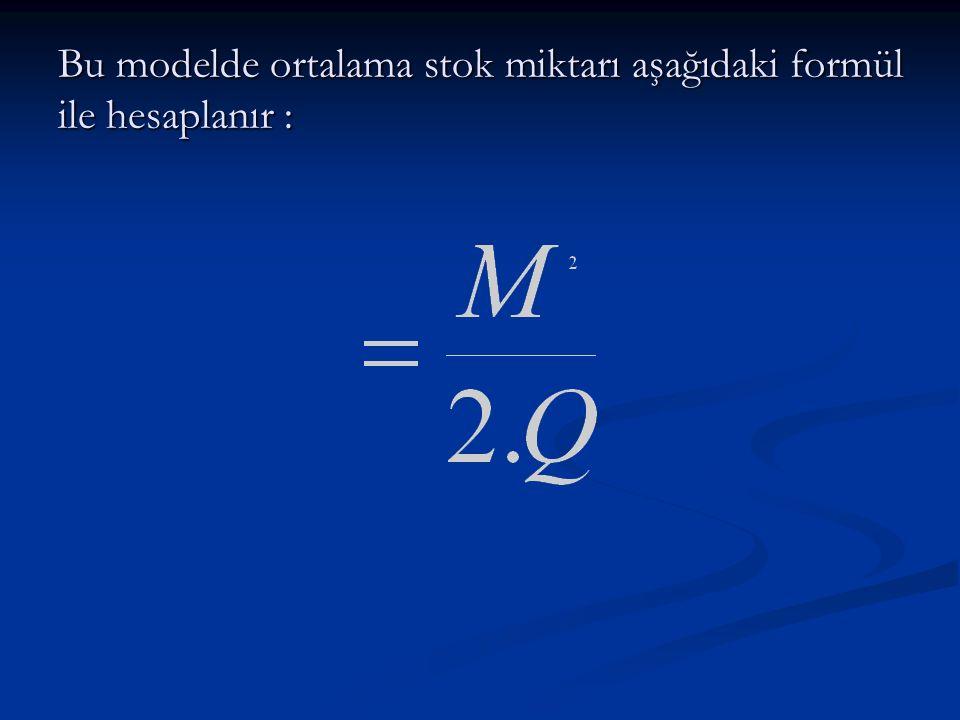 Bu modelde ortalama stok miktarı aşağıdaki formül ile hesaplanır :