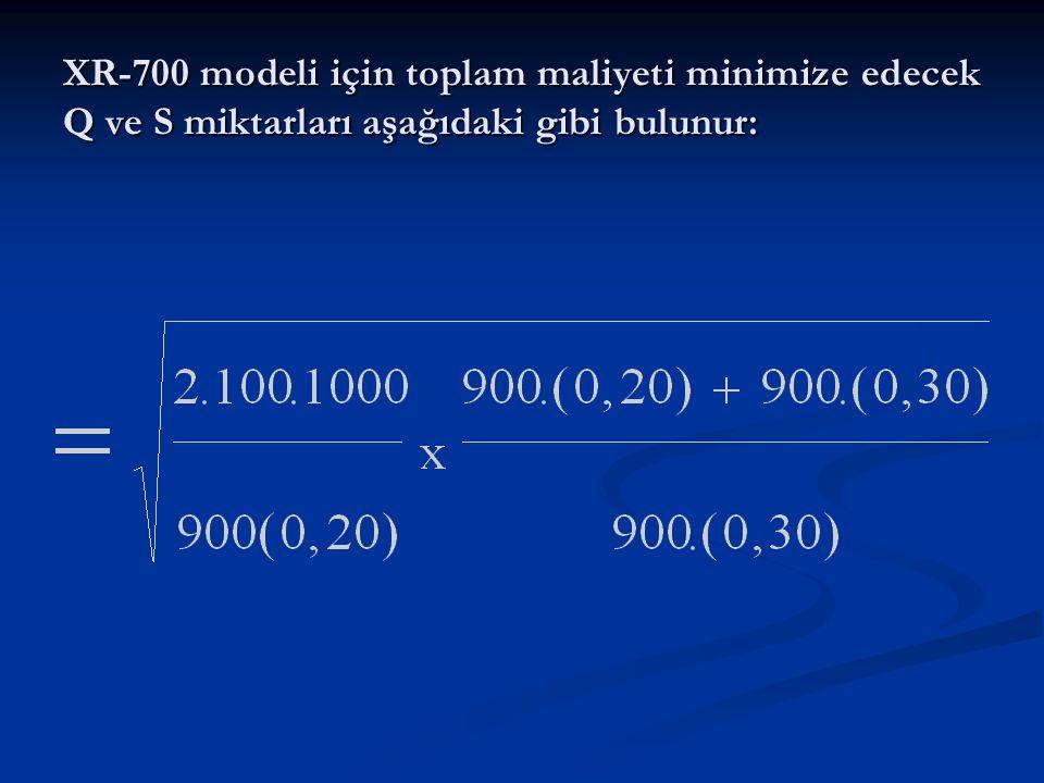 XR-700 modeli için toplam maliyeti minimize edecek Q ve S miktarları aşağıdaki gibi bulunur: