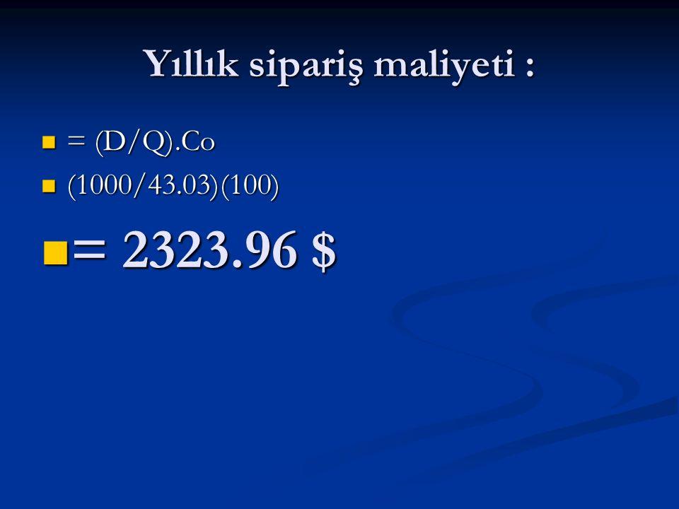 Yıllık sipariş maliyeti : = (D/Q).Co = (D/Q).Co (1000/43.03)(100) (1000/43.03)(100) = 2323.96 $ = 2323.96 $