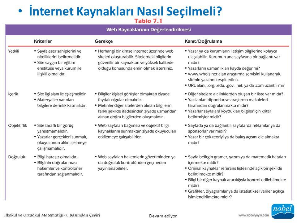 İnternet Kaynakları Nasıl Seçilmeli? Devam ediyor