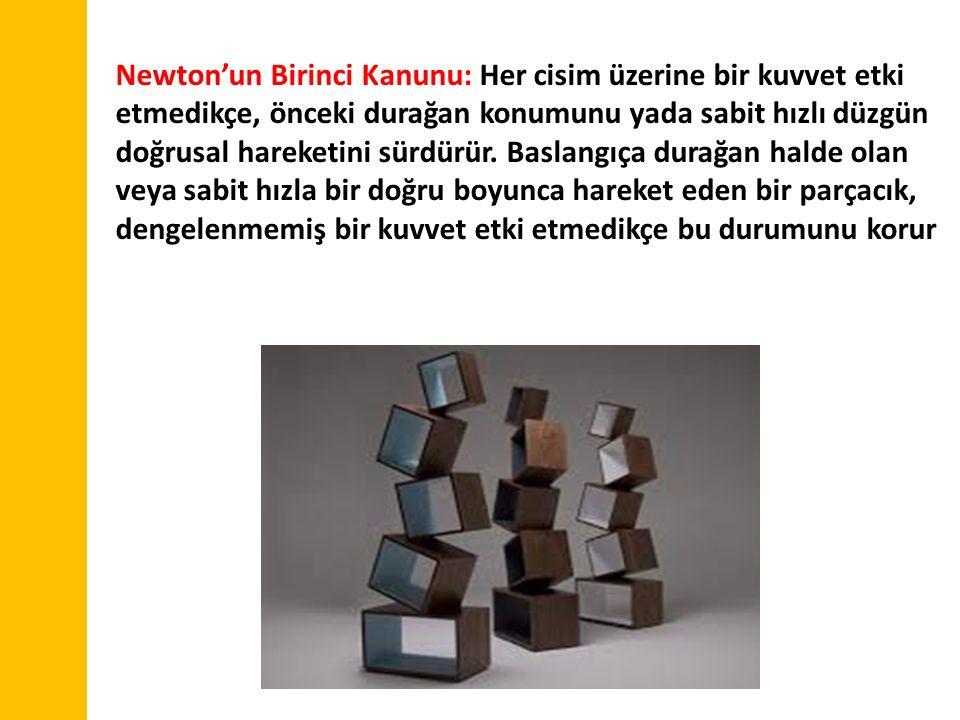 Newton'un Birinci Kanunu: Her cisim üzerine bir kuvvet etki etmedikçe, önceki durağan konumunu yada sabit hızlı düzgün doğrusal hareketini sürdürür. B