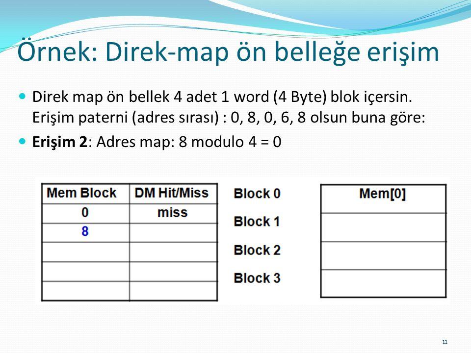 Örnek: Direk-map ön belleğe erişim 11 Direk map ön bellek 4 adet 1 word (4 Byte) blok içersin. Erişim paterni (adres sırası) : 0, 8, 0, 6, 8 olsun bun