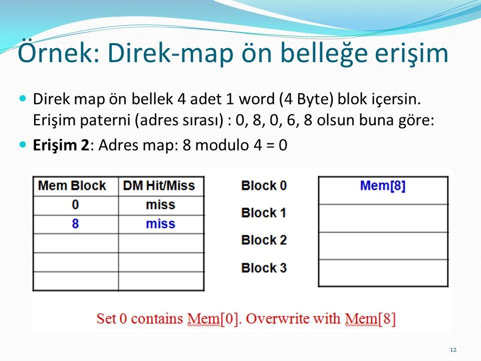 Örnek: Direk-map ön belleğe erişim 12 Direk map ön bellek 4 adet 1 word (4 Byte) blok içersin. Erişim paterni (adres sırası) : 0, 8, 0, 6, 8 olsun bun
