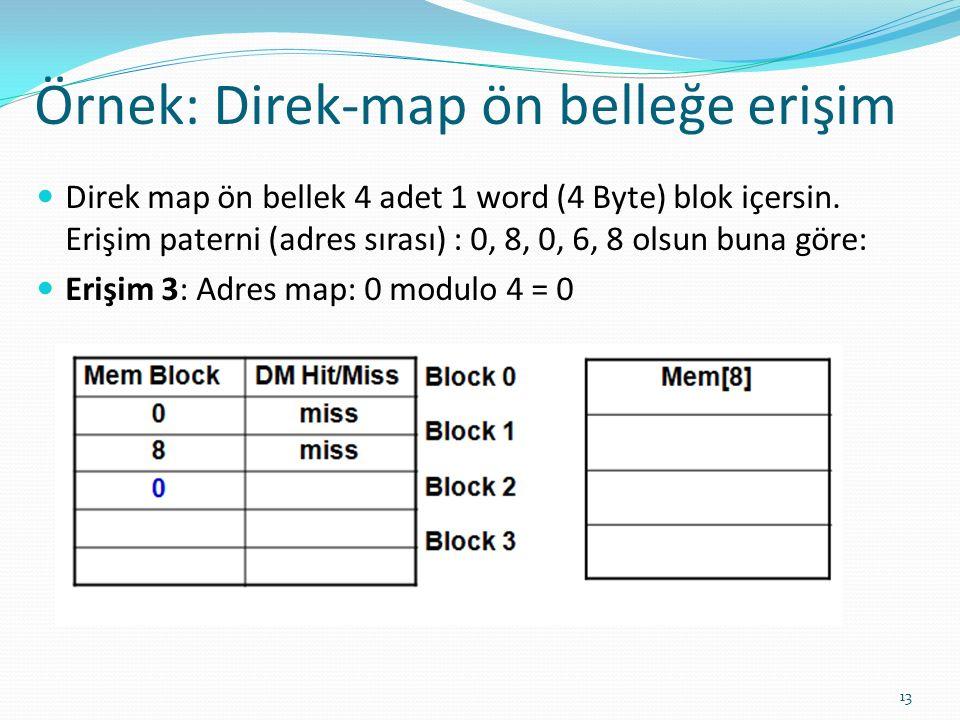 Örnek: Direk-map ön belleğe erişim 13 Direk map ön bellek 4 adet 1 word (4 Byte) blok içersin. Erişim paterni (adres sırası) : 0, 8, 0, 6, 8 olsun bun