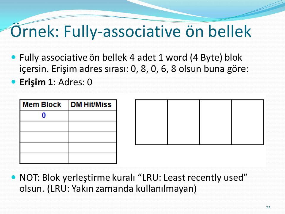Örnek: Fully-associative ön bellek 22 Fully associative ön bellek 4 adet 1 word (4 Byte) blok içersin. Erişim adres sırası: 0, 8, 0, 6, 8 olsun buna g
