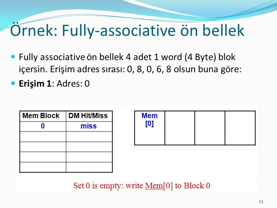 Örnek: Fully-associative ön bellek 23 Fully associative ön bellek 4 adet 1 word (4 Byte) blok içersin. Erişim adres sırası: 0, 8, 0, 6, 8 olsun buna g