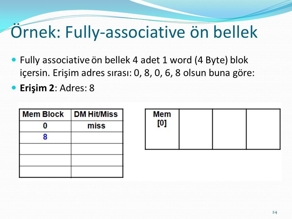 Örnek: Fully-associative ön bellek 24 Fully associative ön bellek 4 adet 1 word (4 Byte) blok içersin. Erişim adres sırası: 0, 8, 0, 6, 8 olsun buna g
