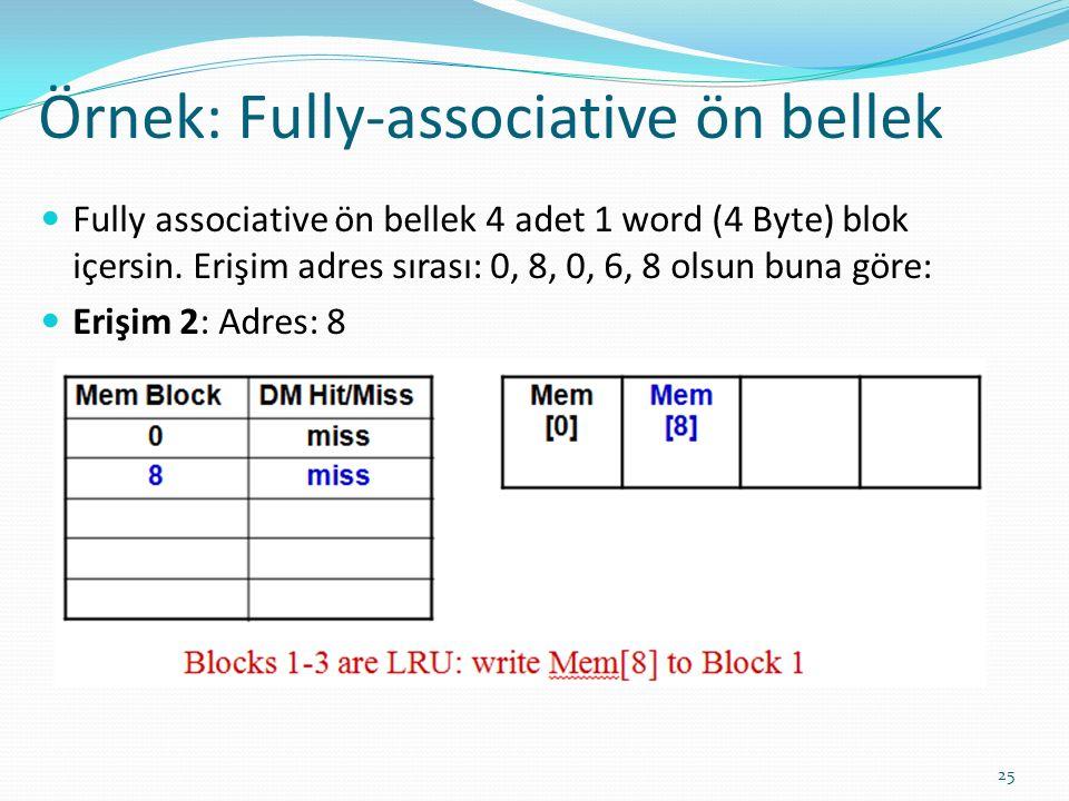 Örnek: Fully-associative ön bellek 25 Fully associative ön bellek 4 adet 1 word (4 Byte) blok içersin. Erişim adres sırası: 0, 8, 0, 6, 8 olsun buna g