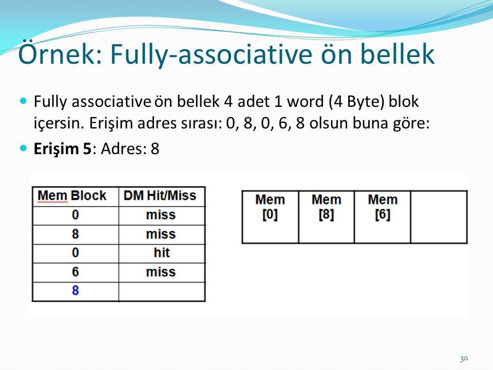 Örnek: Fully-associative ön bellek 30 Fully associative ön bellek 4 adet 1 word (4 Byte) blok içersin. Erişim adres sırası: 0, 8, 0, 6, 8 olsun buna g