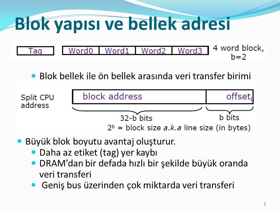 Blok yapısı ve bellek adresi 5 Blok bellek ile ön bellek arasında veri transfer birimi Büyük blok boyutu avantaj oluşturur. Daha az etiket (tag) yer k