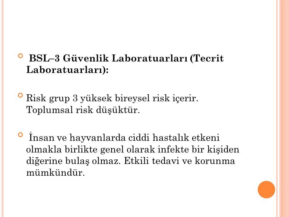 Bu gruptaki laboratuarlar genellikle Tecrit Laboratuarı olarak adlandırılır; Özel Tanı Laboratuarları ve Araştırma Laboratuarlarıdır.