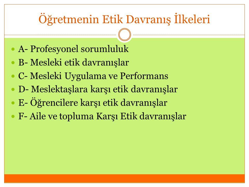 Öğretmenin Etik Davranış İlkeleri A- Profesyonel sorumluluk B- Mesleki etik davranışlar C- Mesleki Uygulama ve Performans D- Meslektaşlara karşı etik