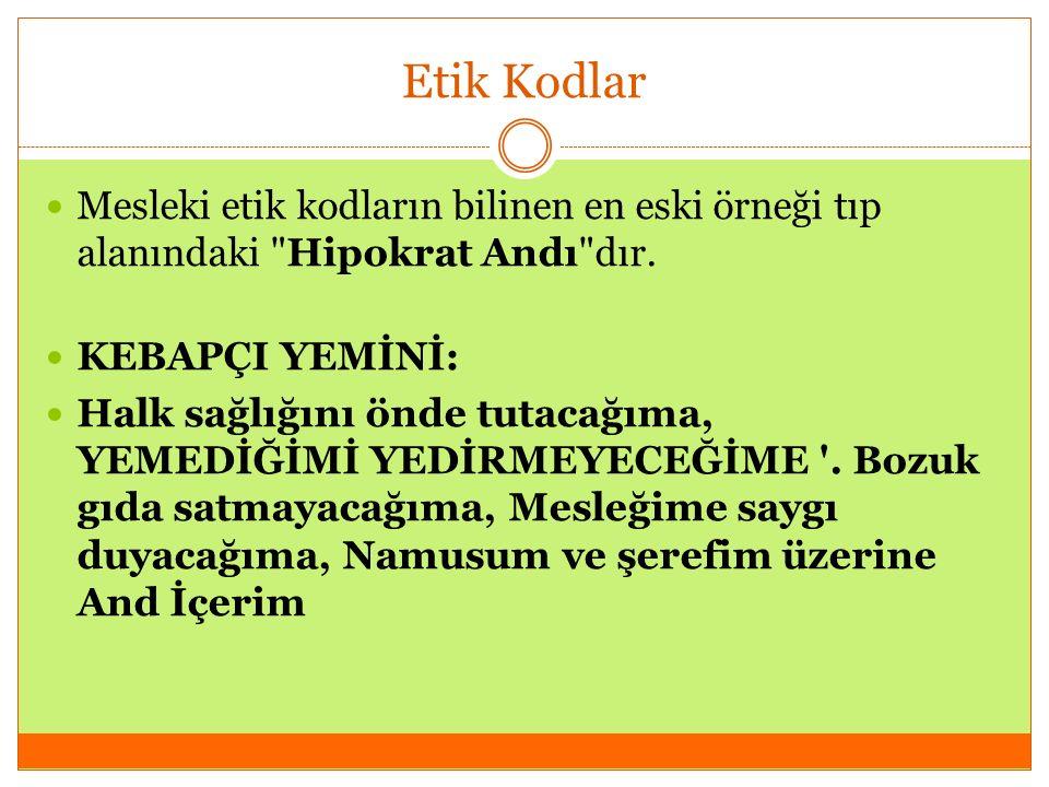 Etik Kodlar Mesleki etik kodların bilinen en eski örneği tıp alanındaki Hipokrat Andı dır.