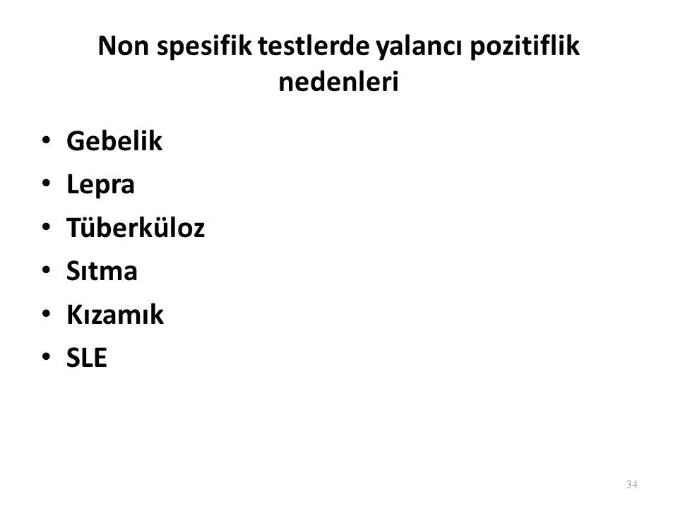 Spesifik testler Antijen olarak T.