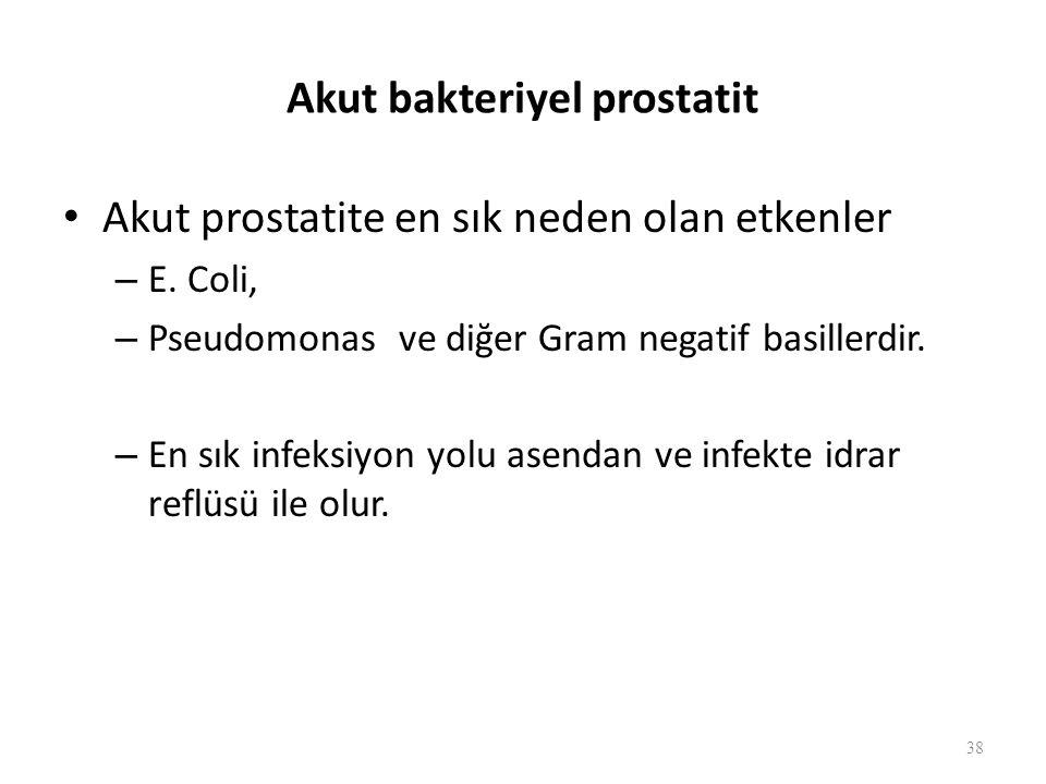 Akut bakteriyel prostatit Akut prostatite en sık neden olan etkenler – E.