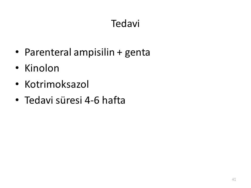 Tedavi Parenteral ampisilin + genta Kinolon Kotrimoksazol Tedavi süresi 4-6 hafta 41