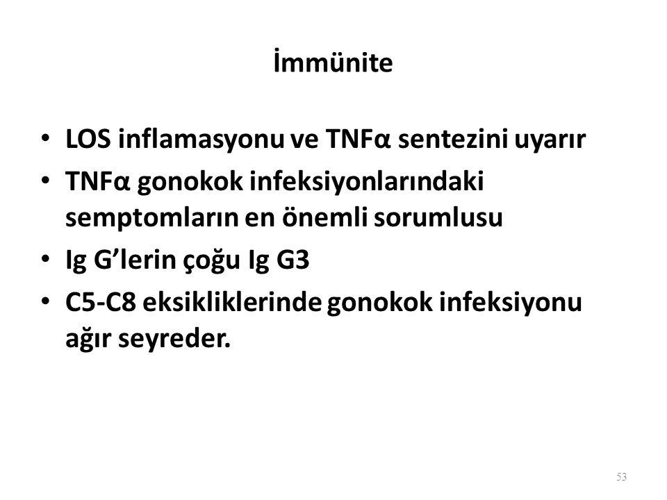 İmmünite LOS inflamasyonu ve TNFα sentezini uyarır TNFα gonokok infeksiyonlarındaki semptomların en önemli sorumlusu Ig G'lerin çoğu Ig G3 C5-C8 eksikliklerinde gonokok infeksiyonu ağır seyreder.