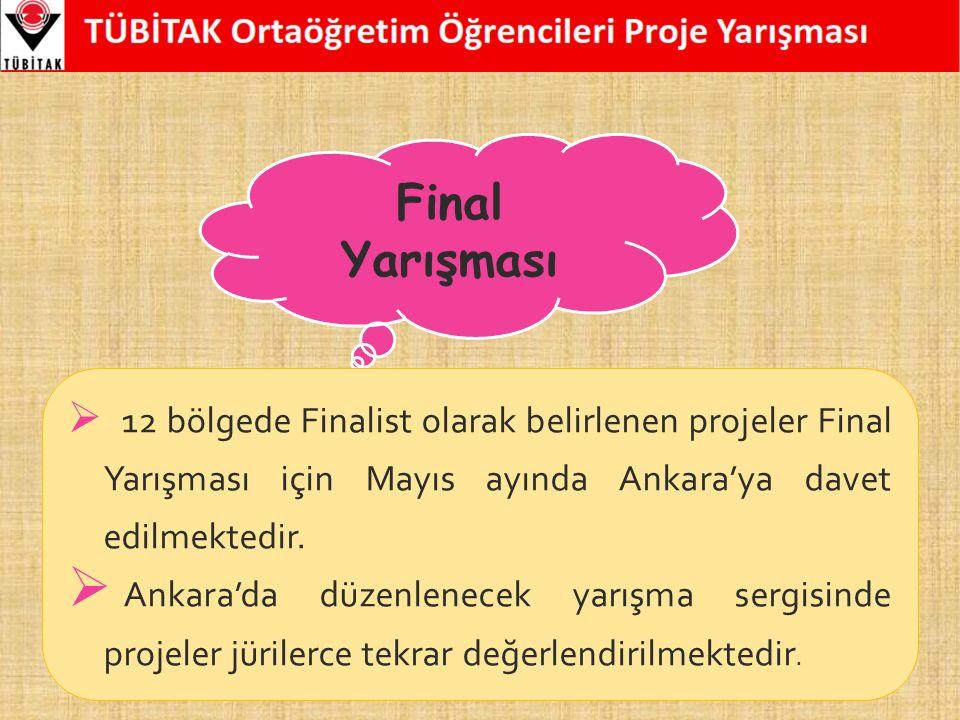 Final Yarışması  12 bölgede Finalist olarak belirlenen projeler Final Yarışması için Mayıs ayında Ankara'ya davet edilmektedir.  Ankara'da düzenlene