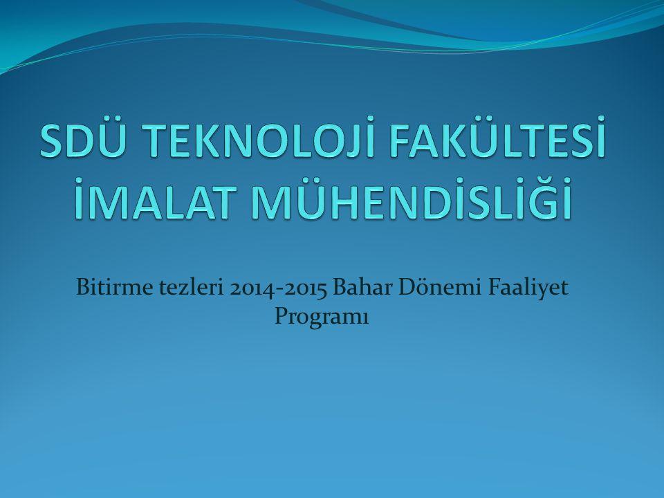 Bitirme tezleri 2014-2015 Bahar Dönemi Faaliyet Programı