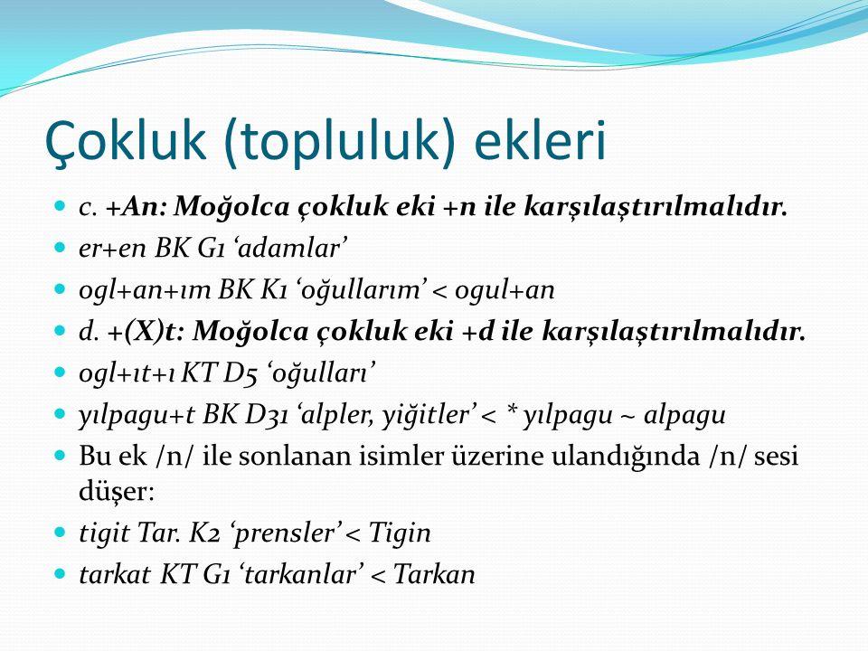 ZARF Yer Zarfları Orhun Türkçesinde +A, +DXn, +gArU, +rA, +rU, +DA eklerini almış sözcükler yer zarfı olarak kullanılır.