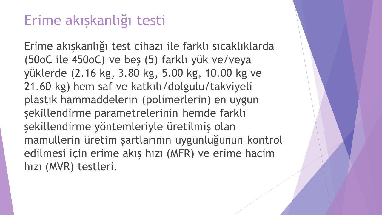 Erime akışkanlığı testi Erime akışkanlığı test cihazı ile farklı sıcaklıklarda (50oC ile 450oC) ve beş (5) farklı yük ve/veya yüklerde (2.16 kg, 3.80 kg, 5.00 kg, 10.00 kg ve 21.60 kg) hem saf ve katkılı/dolgulu/takviyeli plastik hammaddelerin (polimerlerin) en uygun şekillendirme parametrelerinin hemde farklı şekillendirme yöntemleriyle üretilmiş olan mamullerin üretim şartlarının uygunluğunun kontrol edilmesi için erime akış hızı (MFR) ve erime hacim hızı (MVR) testleri.