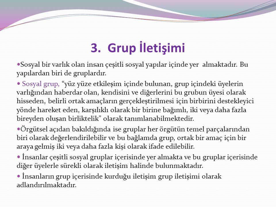 """3. Grup İletişimi Sosyal bir varlık olan insan çeşitli sosyal yapılar içinde yer almaktadır. Bu yapılardan biri de gruplardır. Sosyal grup, """"yüz yüze"""