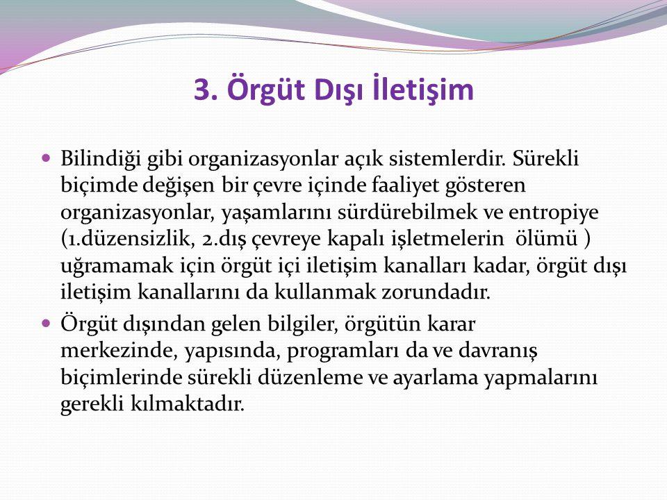 3.Örgüt Dışı İletişim Bilindiği gibi organizasyonlar açık sistemlerdir.