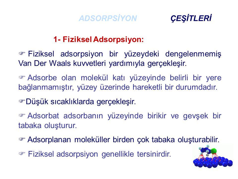 1- Fiziksel Adsorpsiyon:  Fiziksel adsorpsiyon bir yüzeydeki dengelenmemiş Van Der Waals kuvvetleri yardımıyla gerçekleşir.