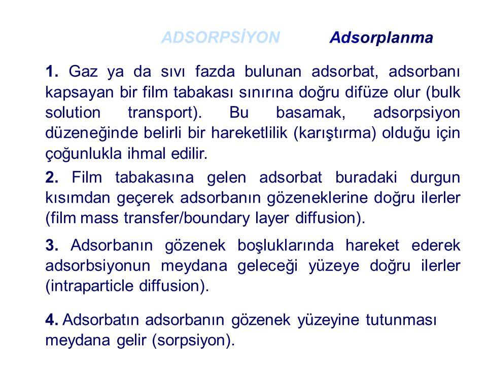 1. Gaz ya da sıvı fazda bulunan adsorbat, adsorbanı kapsayan bir film tabakası sınırına doğru difüze olur (bulk solution transport). Bu basamak, adsor