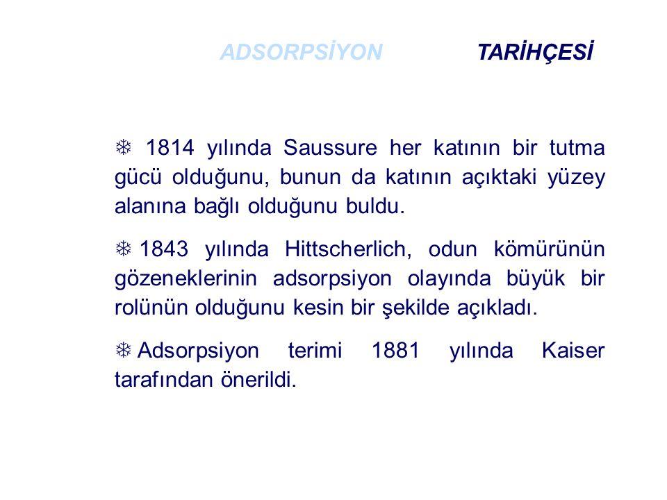  1814 yılında Saussure her katının bir tutma gücü olduğunu, bunun da katının açıktaki yüzey alanına bağlı olduğunu buldu.