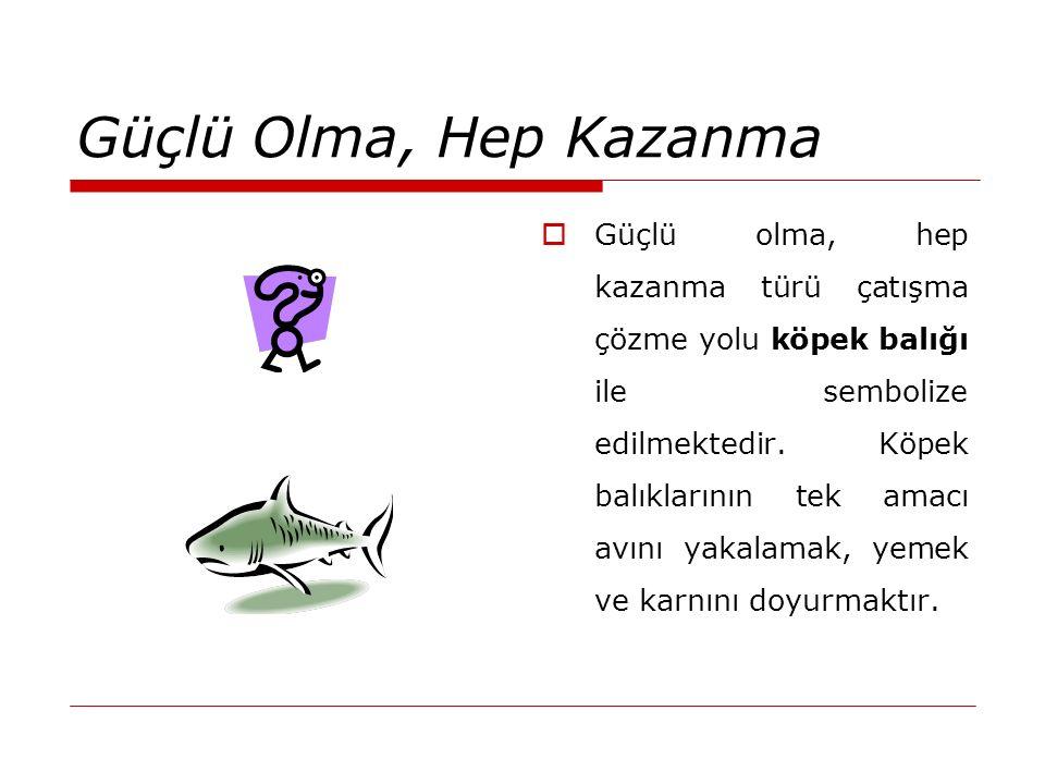 Güçlü Olma, Hep Kazanma  Güçlü olma, hep kazanma türü çatışma çözme yolu köpek balığı ile sembolize edilmektedir. Köpek balıklarının tek amacı avını