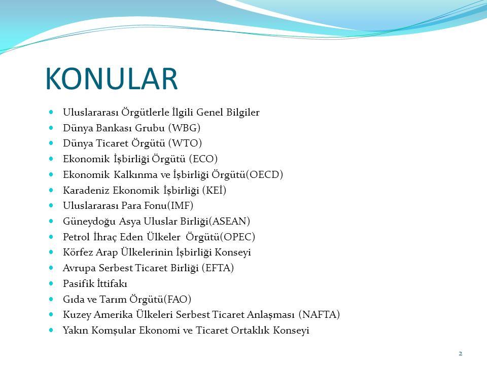 KONULAR Uluslararası Örgütlerle İlgili Genel Bilgiler Dünya Bankası Grubu (WBG) Dünya Ticaret Örgütü (WTO) Ekonomik İşbirliği Örgütü (ECO) Ekonomik Ka