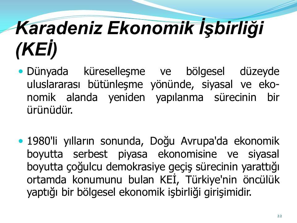Karadeniz Ekonomik İşbirliği (KEİ) Dünyada küreselleşme ve bölgesel düzeyde uluslararası bütünleşme yönünde, siyasal ve eko nomik alanda yeniden yapı