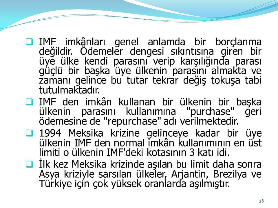  IMF imkânları genel anlamda bir borçlanma değildir. Ödemeler dengesi sıkıntısına giren bir üye ülke kendi parasını verip karşılığında parası güçlü