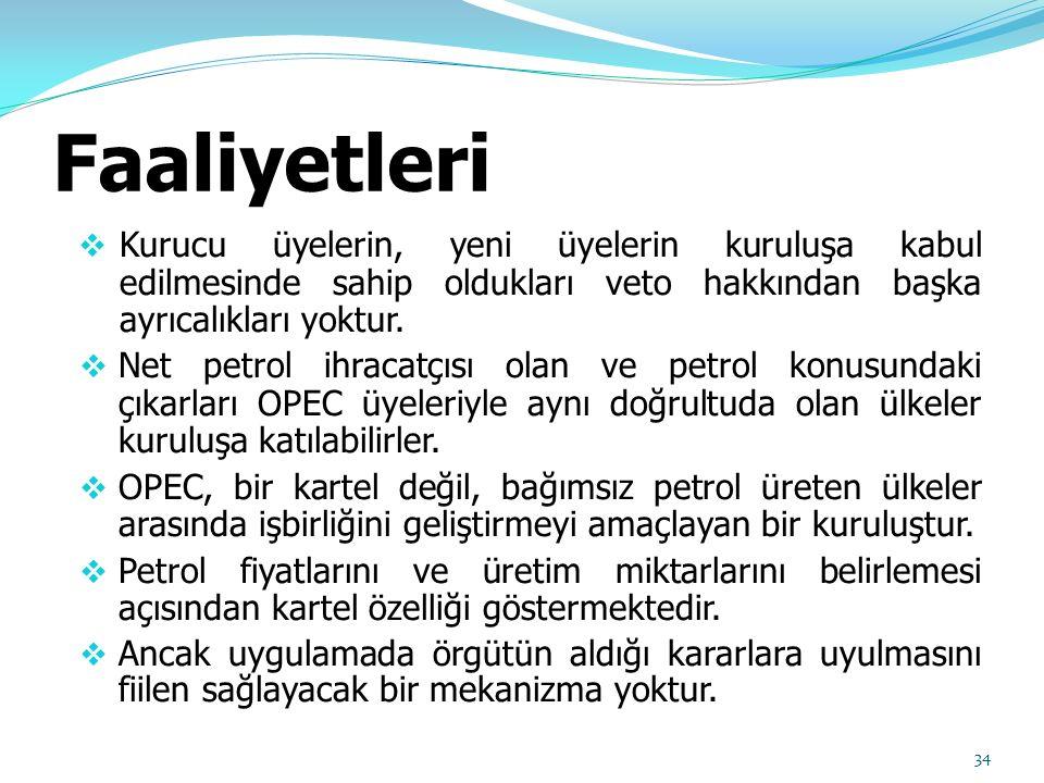 Faaliyetleri  Kurucu üyelerin, yeni üyelerin kuruluşa kabul edilmesinde sahip oldukları veto hakkından başka ayrıcalıkları yoktur.  Net petrol ihrac