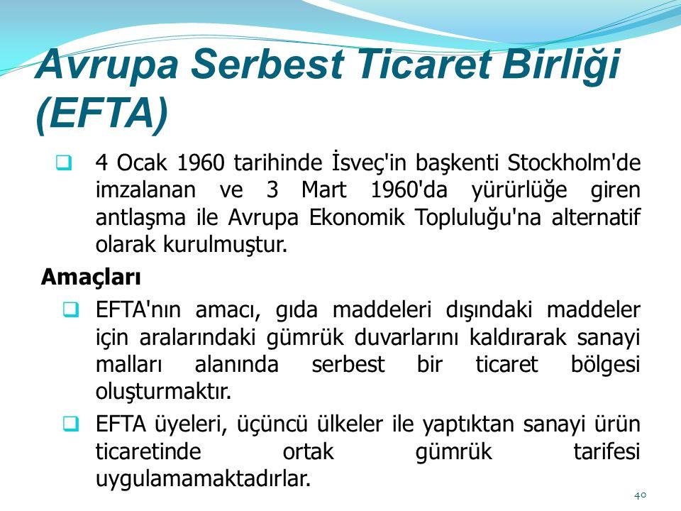 Avrupa Serbest Ticaret Birliği (EFTA)  4 Ocak 1960 tarihinde İsveç in başkenti Stockholm de imzalanan ve 3 Mart 1960 da yürürlüğe giren antlaşma ile Avrupa Ekonomik Topluluğu na alternatif olarak kurulmuştur.