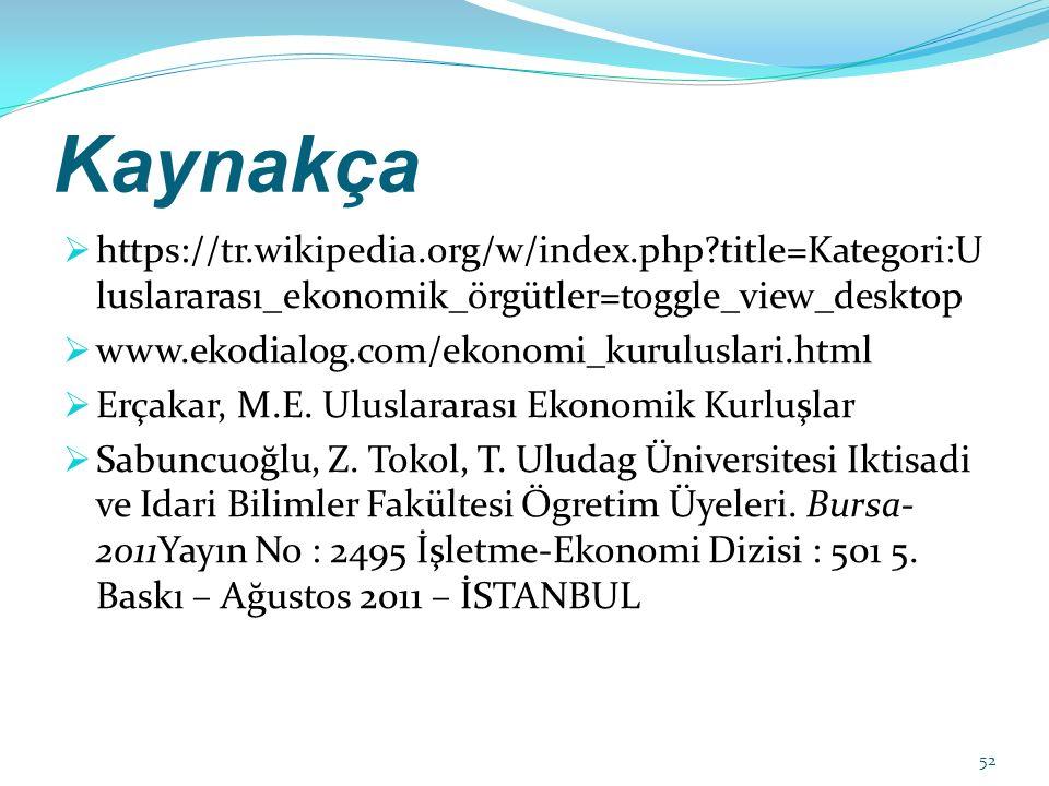 Kaynakça  https://tr.wikipedia.org/w/index.php?title=Kategori:U luslararası_ekonomik_örgütler=toggle_view_desktop  www.ekodialog.com/ekonomi_kuruluslari.html  Erçakar, M.E.